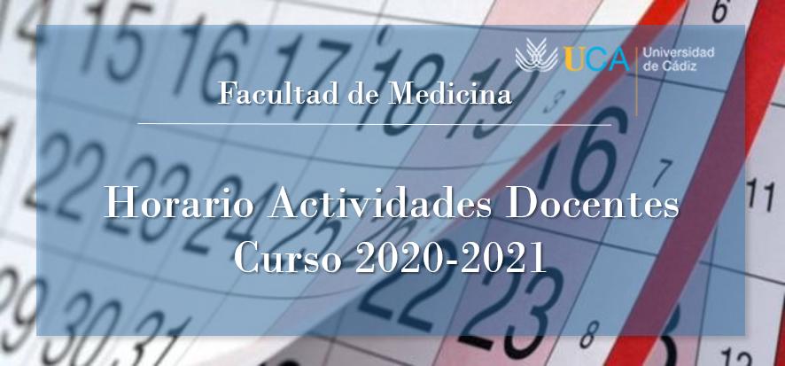 Ya puedes consultar el horario de las actividades docente del curso 2020-2021