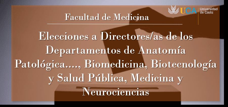Aprobada por Junta Electoral la convocatoria para las Elecciones a Directores/as de los Departamentos de Anatomía Patológica…, Biomedicina, Biotecnología y Salud Pública, Medicina y Neurociencias