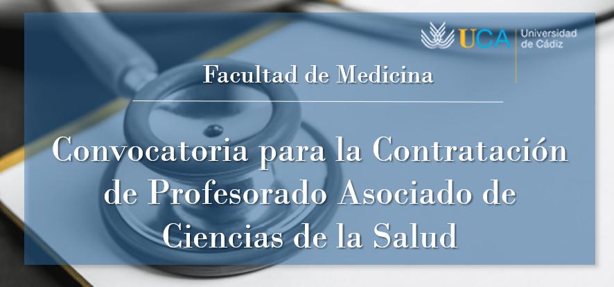 Abierto el plazo de presentaciones para participar en el concurso público de Profesorado Asociado de Ciencias de la Salud