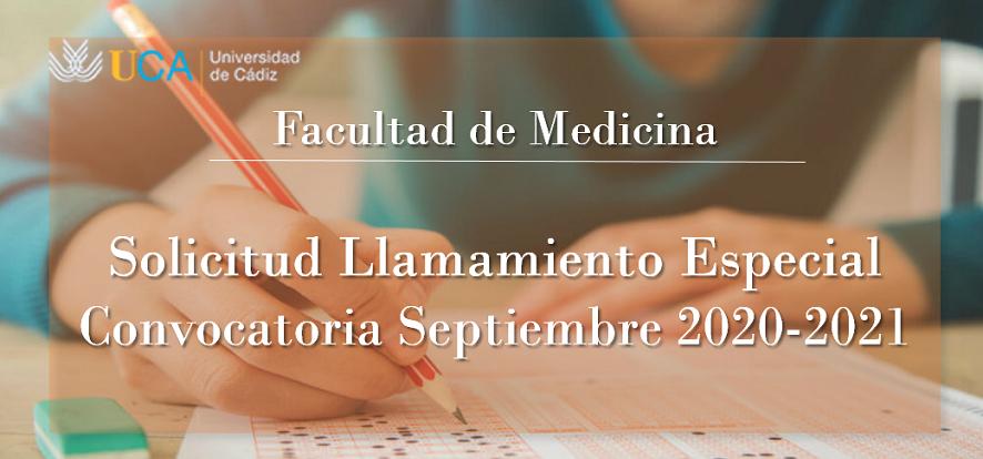 Solicitud de Llamamiento Especial para los exámenes de septiembre 2020-2021
